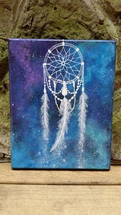Dreamcatcher painting, space art, hippie painting, free spirit, gypsy, boho, bohemian art, rustic painting, original painting on canvas