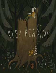 """""""Keep Reading,"""" digital poster by Alexandra Dvornikova with Russian folk art overtones. Art And Illustration, Illustrations, Les Gifs, Reading Art, Reading Quotes, Colossal Art, Poster S, Animation, I Love Books"""