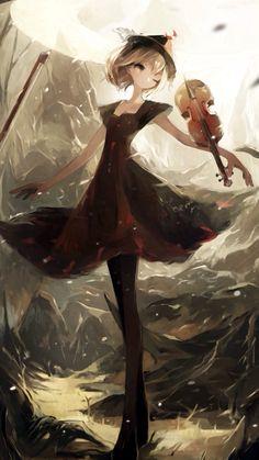 Imagen de anime girl and violin