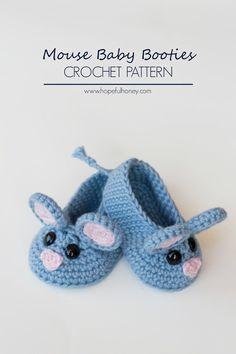 Field Mouse Baby Booties Crochet Pattern