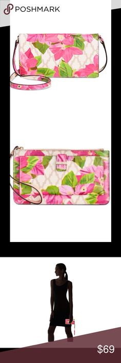 Kate Spade Bayard Place Mini CrossBody IPhone Case New With Tags, Kate Spade New York, Bayard Place Mini CrossBody IPhone 6/7 Case. Floral Printed Glazed Saffiano Faux Leather. The Floral Print Features Shades Of  Light And Dark Pink, Green And White. 14K Light Gold-Plated Exterior Hardware And Snap Closure Phone Compartment. One Interior ID Window, Five Card Slots And Two Slip/Currency Pockets. Fits IPhone Six And Seven. MSRP 100.00. kate spade Accessories Phone Cases