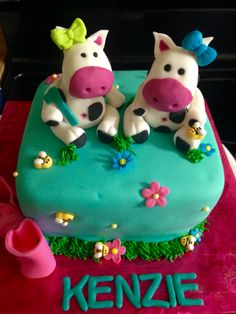 Cow/Farm 1st Birthday cake for a girl