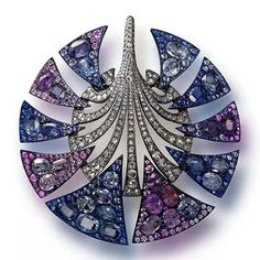 Carnet Jewellery by Michelle Ong,  Perfect colour gradients and symmetry in this diamonds and coloured sapphires brooch