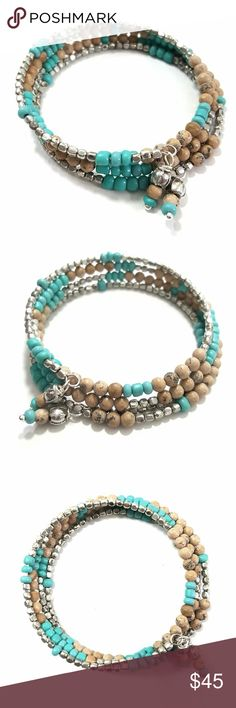 Turquoise & Sand Gemstone Beaded Layer Bracelet Turquoise and sand colored gemstones with silver accent beads creat this lovely beaded four layered memory wire bracelet. Fits most wrist sizes. Handcrafted with love by me! PRICE IS FIRM UNLESS BUNDLED croweArt Jewelry Bracelets