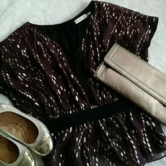 Anthropologie wine and gold sparkle top Dark burgundy top, scattered with gold threads and a black trimmed waist. The perfect party blouse! Classy button down back is a beautiful and feminine touch. Worn once. Anthropologie Tops Blouses