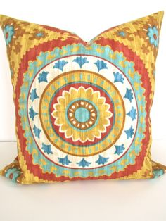 PILLOW Cover Gold Turquoise teal Decorative Throw Pillows 20 x 20 Orange Red Yellow Indoor Outdoor Throw pillow covers medallion Outdoor Throw Pillows, Decorative Throw Pillows, Orange And Turquoise, Orange Red, Yellow, Gold Pillows, Living Room Colors, Pillow Forms, Throw Pillow Covers