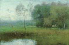 George Inness, New Jersey Landscape , 1891 Sterling and Francine Clark Art Institute, Williamstown, Massachusetts Landscape Art, Landscape Paintings, Asian Landscape, Barbizon School, Hudson River School, Clark Art, Paintings I Love, Oil Paintings, Small Paintings