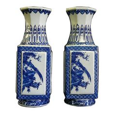 chinese blue and white export porcelain vase square - Google Search