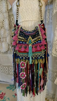 Handmade Ibiza Festival Shoulder Fringe Bag Hippie Boho Hobo Gypsy Purse tmyers…