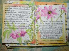 A narrative style garden journal page with lovely artwork to dress it up