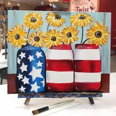 "Pretty ""Patriotic Mason Jars"" will brighten up any space! Pretty ""Patriotic Mason Jars"" will brighten up any space! Cute Canvas Paintings, Canvas Painting Tutorials, Easy Canvas Art, Easy Canvas Painting, Diy Canvas, Diy Painting, Canvas Ideas, Tole Painting, Easy Paintings"