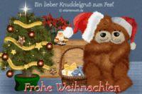 Ein lieber Knuddelgruß zum Fest. Frohe Weihnachten. Animierte Weihnachtskarte mit Djabbi Teddys