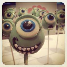 Monsters Inc Pops for another #customorder #lilcutiepops #cakepops #cakepopshop #monstersinc #mikewazowski #edibleart #cuterthanacupcake #cakeonastick #bakery #yaaaaaaaaaaaah