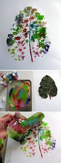 Impression d 'empreinte de feuille: - Herbst - halloween crafts Projects For Kids, Diy For Kids, Crafts For Kids, Children Art Projects, Art Children, Autumn Crafts, Nature Crafts, Autumn Activities, Activities For Kids