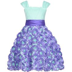 Rare Editions Mint Green Purple Rosette Easter Spring Dress Girls 7-16 ($45) ❤ liked on Polyvore featuring dresses, baby, children and little girl