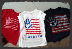 DIY 4th of July Shirts  Materials:  T-shirts: any color(I chose red, white, and blue) Paint brushes of various sizes Tulip Fabric Paint Stencils(for lettering and palm design) (I bought supplies at Hobby Lobby and t-shirts at Wal-Mart)  The How To:  Paint palm, tape design to center of palm, and press firmly on t-shirt. Tape lettering and other designs where you want them, and paint on with brushes.   My kids had so much fun, we will be designing more than t-shirts!