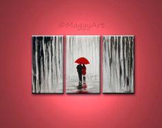 original acrylic painting72x36 inch walking in rain by maggyart