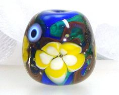 Handmade Lampwork Bead Floral Lemon Yellow Gold by elizabethsbeads, $20.00