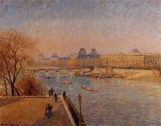 Camille Pissarro (Danish-French 1830– 1903) [Impressionism, Post-Impressionist] The Louvre, Winter Sunshine, Morning, 1900.