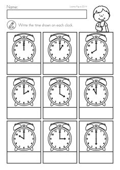 Summer Review Kindergarten Math & Literacy Worksheets & Activities. Label each clock to tell the time. Reading Comprehension Worksheets, 1st Grade Worksheets, Kindergarten Math Worksheets, Math Literacy, Science Worksheets, Math Classroom, In Kindergarten, Math Activities, Weather Worksheets