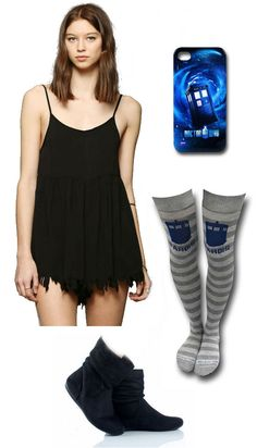 LADIES NIGHT OUT: Doctor Who outfit by Mary Huth iPhone Case:  http://www.superherostuff.com/dr.-who/cell-phone-covers/doctor-who-tardis-iphone-4-case.html?itemcd=celldrwhotrdip4&utm_source=pinterest&utm_medium=social&utm_campaign=featuredoutfit Boots: http://www.polyvore.com/black_suede_slouch_bootie_designer/thing?id=24010943 Dress: http://www.urbanoutfitters.com/urban/catalog/productdetail.jsp?id=30765184