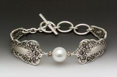 silver spoon bracelet with pearl: Lady Helen