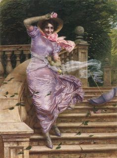 "Gaetano Bellei (Italian, 1857-1922) - ""A Gust of Wind"""