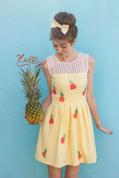 DIY Pineapple Dress with free pineapple printables from Studio DIY