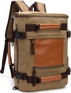 Aidonger Multifunktions Vintage Canvas and Leather Shoulder bag Travel Backpack -- Find out more details by clicking the image : Hiking backpack