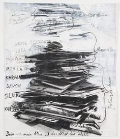 "Anselm Kiefer, ""dein und mein alter und das alter der welt"" 2005, Paint and charcoal on cut, torn and pasted photographs. 128 x 107.5cm"
