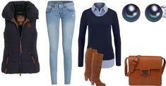 Wow... Was für ein schicker Alltagslook. Die helle Jeans von Only wird mit einem eleganten Pullover mit integriertem Hemd getragen. Eine sehr klassische aber effektvolle Kombi. Die Steppjacke von Naketano bleibt dem eleganteren Stil des Looks treu. Auch die Stiefel von Buffalo sind wahre Hingucker. Feminine Schuhe, die jedes Outfit aufwerten. Die Accessoires sind sehr dezent und dank ihres Design fügen sie sich hervorragend in das Gesamtkonzept ein. Mit einem Blazer definitiv auch etwas fürs…