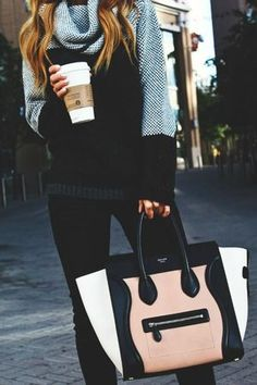 Coffee, cowl sweater, colorblock tote. Don't you just want to get cozy in this chic look? Shop it now by clicking on the photo.