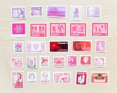 28 Red and Pink Unused Postage Stamps Canadian 1950s 1960s 1970s Wildflowers of Canada Queen Elizabeth Snowflake Mailing Wedding Envelopes