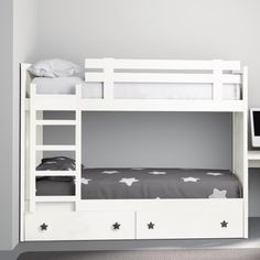 Bunk Bed Rooms, Kids Bunk Beds, Sofa Scandinavian, Kids Bed Design, White Bunk Beds, Beds For Small Spaces, Bunk Beds With Storage, Bunk Bed Plans, Bunk Bed Designs