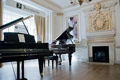 Opulent Bösendorfer piano showroom at Chappell Music, Wardour St. Interior design by Keechdesign London