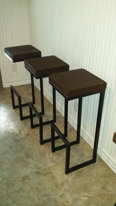 "32""x14""x12"" bar stool, modern bar stool, cool stool, counter stool, seat, chair, designer bar stool, kitchen stool, welded bar stool, steel. GKH - maybe we could have small sections of counter to material ( quartz) cut to be exactly same size as wooden seat and then epoxy them to top."