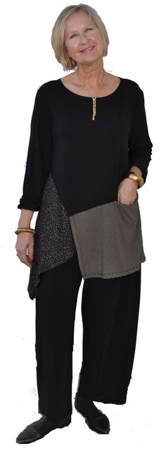 Kicky 3 pc set showcasing pocketed houndstooth skirt with contrasting tank and funky striped cropped cardigan. Boho Fashion, Fashion Outfits, Bohemian Mode, Advanced Style, How To Make Clothes, Sewing Clothes, Refashion, Plus Size Fashion, Creations