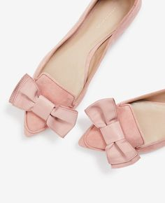 Pink Suede Bow Flats