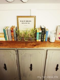 My Fabuless Life: Old Kitchen Cabinet Turned Console Table