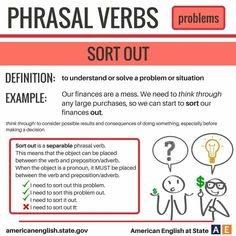Phrasal verb 'Sort out'. English Grammar Rules, Grammar And Vocabulary, English Idioms, English Phrases, English Words, English Vocabulary, Vocabulary Games, Grammar Lessons, English Tips