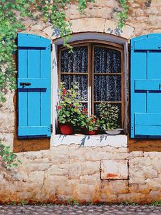 Metaverse Blue Shutters by Michael Swanson Canvas Art Interior Window Shutters, Blue Shutters, Interior Windows, Window Wrap, Open Window, Window Boxes, Faux Window, Old Doors, Windows And Doors
