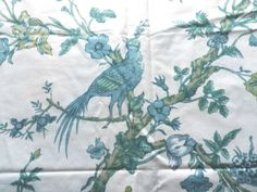 Vintage-Cotton-Chintz-Fabric-Exotic-Birds-in-Trees-Blue-on-Cream