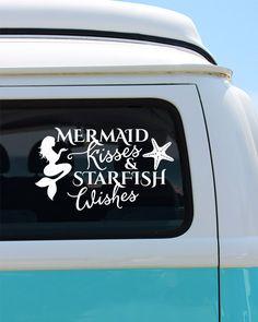 Mermaid Kisses Vinyl Window Decal - Car Sticker - Car Decal by BrokeGirlGraphics on Etsy