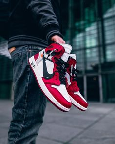 Red and White Streetwear shoes : Nike Air Nike Air Jordan, Air Jordan Shoes, Sneakers Mode, Sneakers Fashion, Fresh Shoes, Hype Shoes, Sneaker Boots, Men S Shoes, Custom Shoes