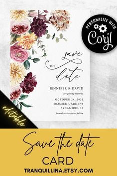 This boho floral wedding save the date is Editable template. In item description you can find all the details how to order & how it works (click on image) or follow this link: tranquillina.etsy.com Matching decorations and signs also available. #wedding #savethedate #pinkwedding #floral #pinkfloral #burgundywedding #dustyrose #trends Floral Wedding Save The Dates, Yellow Wedding, Burgundy Wedding, Bridal Shower Party, Bridal Shower Invitations, Save The Date Templates, Bridesmaid Cards, Menu Cards, Invitation Set