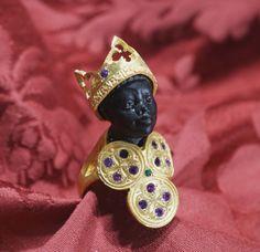 Gran anello moro argento 925 e argento dorato testa in ebano cubic zirconia, disponibile su ordinazione anche nella versione bicolore con corona bianca