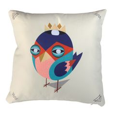 "Coussin ""LOW BROS"" Graphic Bird Throw Pillow"