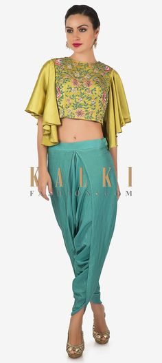 Look ravishing while you sport a boho ethnic style at functions and parties. This set consists of a muted gold heavy satin top with flutter sleeves an Salwar Designs, Blouse Designs, Crop Tops For Kids, Kids Party Wear, Desi Wear, Pants For Women, Clothes For Women, Indian Designer Wear, Ethnic Fashion