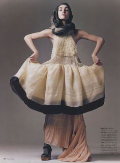 Balenciaga (spring 2006) dress, over Dries van Noten skirt (spring 2006). Chloe shoes.