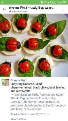 Caprese salad Mozarella cherry tomatoes basil leaves black olives balsamic reduction dots applied with skewer or toothpick Finger Food Appetizers, Appetizers For Party, Finger Foods, Appetizer Recipes, Caprese Appetizer, Fruit Appetizers, Appetizer Ideas, Sandwich Recipes, Caprese Salad Cherry Tomatoes